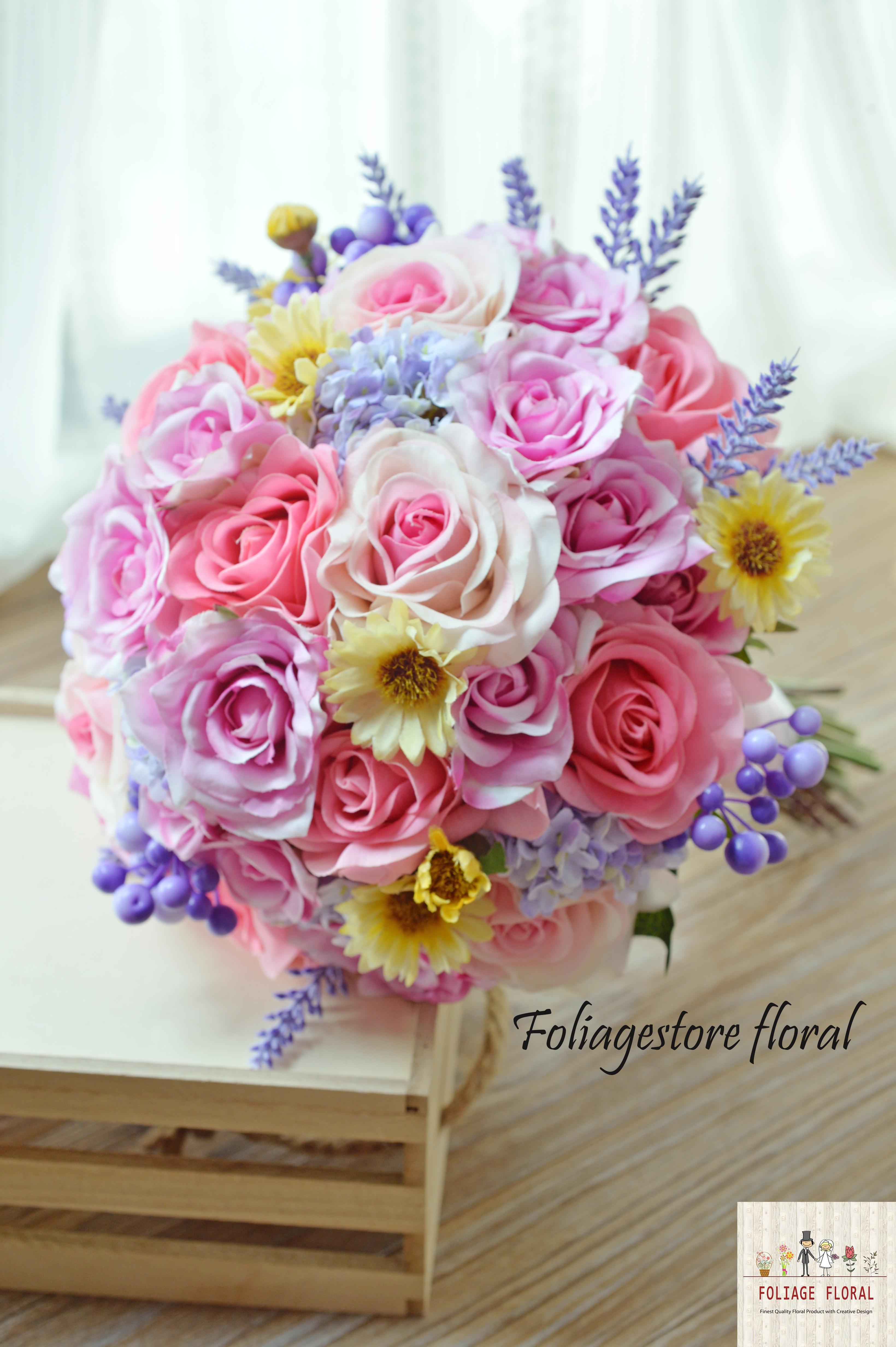 粉色系列_絲花球022