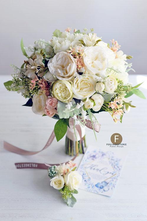 牡丹庭園玫瑰絲花球 - 米白 X 淡粉系列