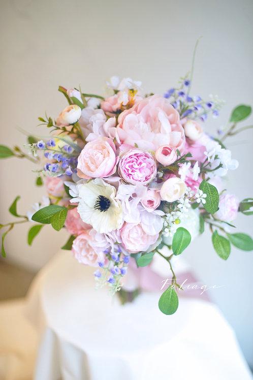 """牡丹庭園玫瑰絲花球 - Creamy Pink 8"""""""
