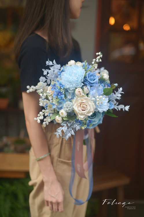 "乾花風車果 玫瑰 絲花球 - Tiffany Blue 9"""