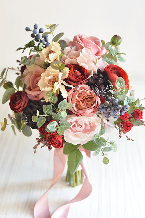 玫瑰牡丹絲花球 - 紅 X 粉系列