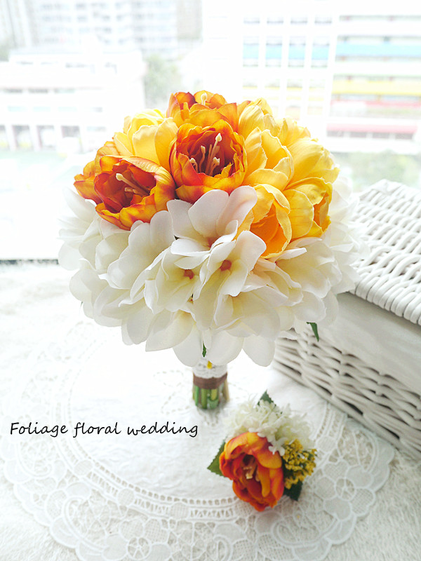 橙黃及香檳色系列_絲花球38
