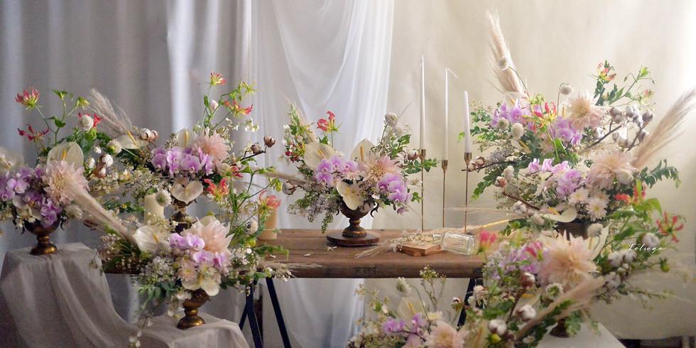 系列花課 - 花藝師日常必修  花店基礎(手綁與插作技巧), 花藝美學理念及婚禮花藝 AUG