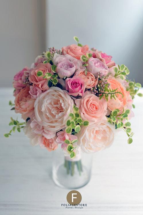 牡丹玫瑰絲花球 - 粉 X 橙系列