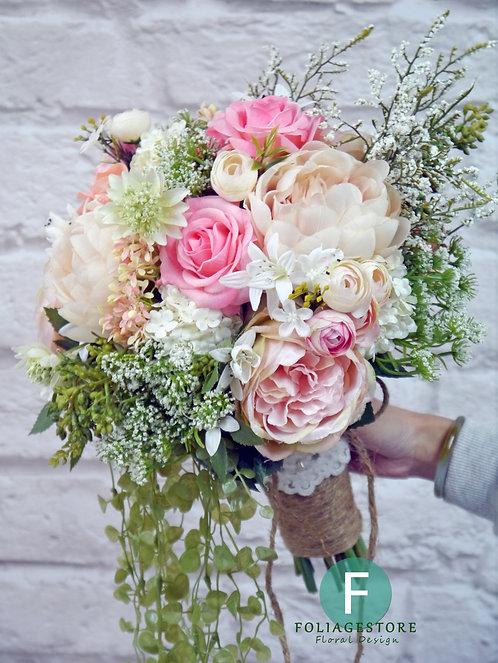 牡丹庭園玫瑰拖尾絲花球 - 香檳粉 X 粉紅 X 蝦肉淺白系列