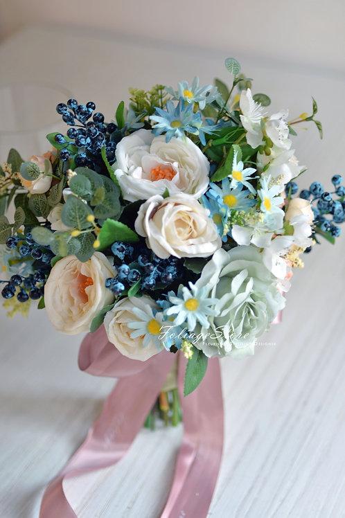 """庭園玫瑰絲花球 - 白 X 湖水藍系列 (8"""")"""
