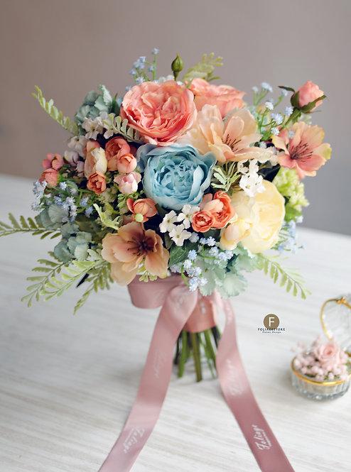 牡丹庭園玫瑰絲花球 - 橙色 X湖水藍系列
