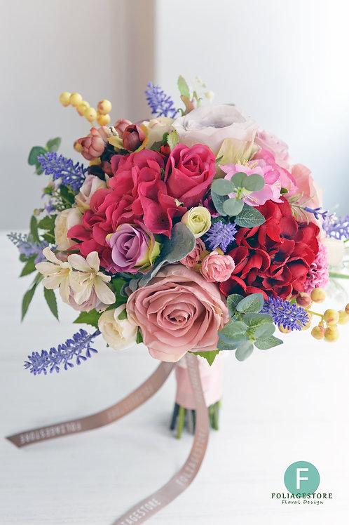 玫瑰繡球絲花球 - 淺紅,桃粉,紫 系列