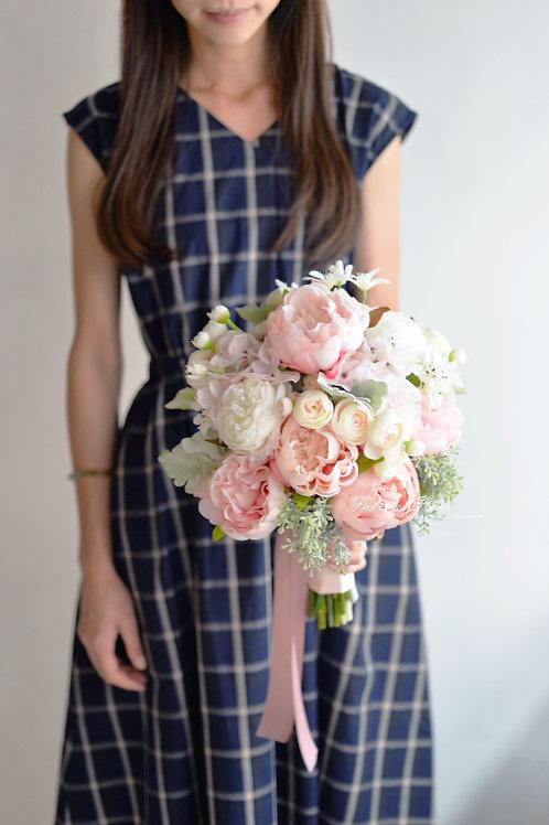 牡丹繡球絲花球 - 淺粉 X綠白系列