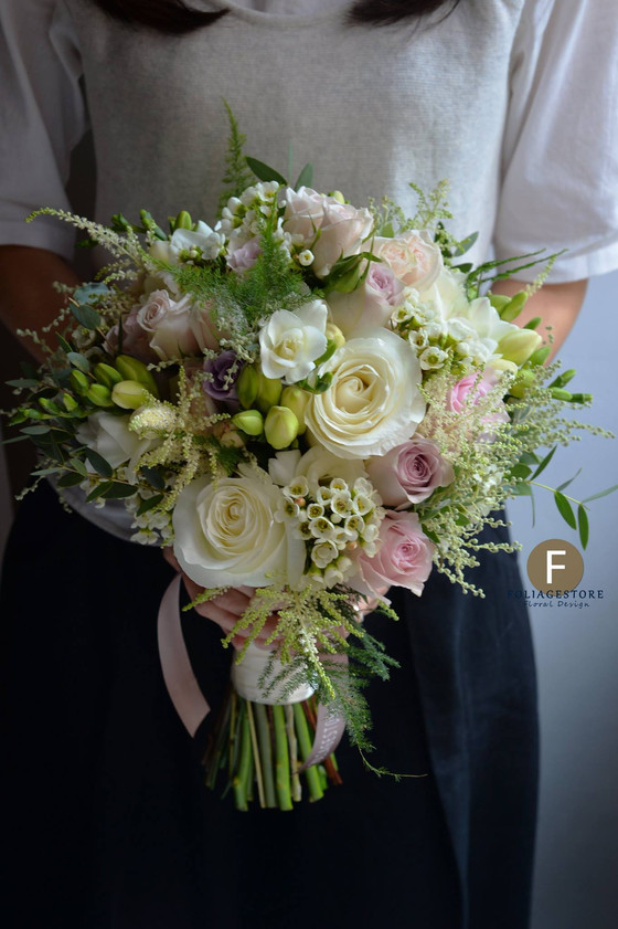 [Fresh Wedding Bouquet] White and Green - The Bouquet, classically elegant, soft, and romantic, with