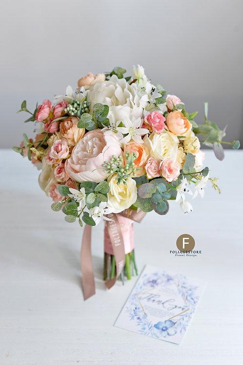 牡丹玫瑰絲花球 - 米白 X 橙粉系列