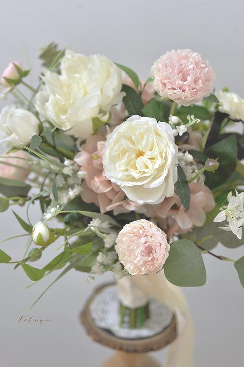 牡丹庭園玫瑰絲花球 - Creamy Nude 系列
