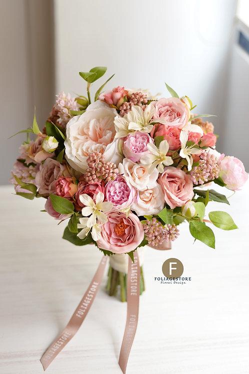 庭園玫瑰絲花球 - 復古粉色系列