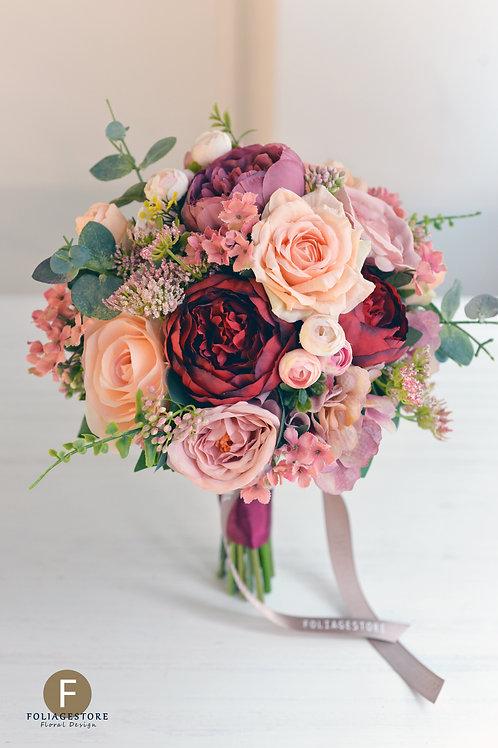 牡丹繡球玫瑰絲花球 - 香檳粉 X 紅系列
