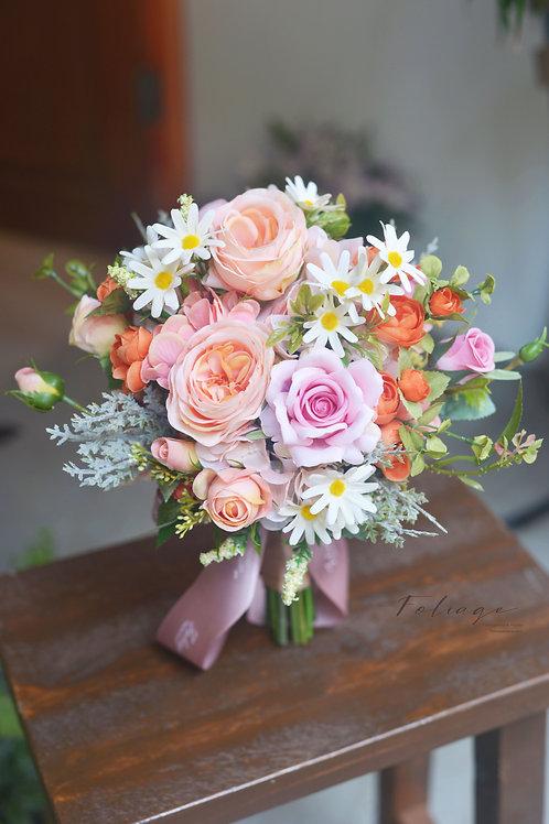 """庭園玫瑰絲花球 -  粉橘色 系列 7"""""""