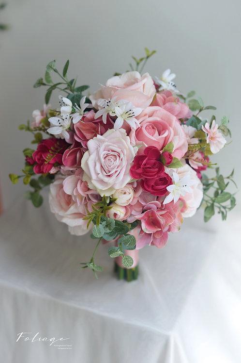 玫瑰繡球絲花球 - 粉桃紅