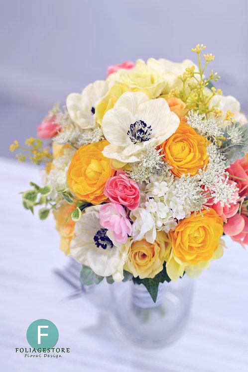 夢羅麗莎小牡丹絲花球 - 純白 X 橙黃系列
