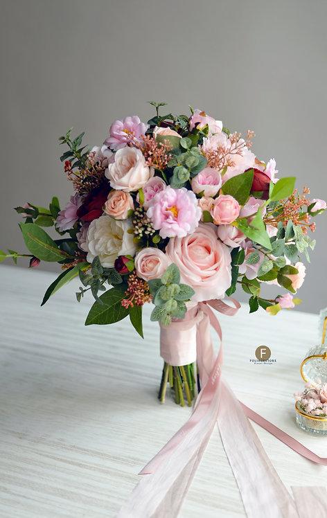 小牡丹庭園玫瑰絲花球 - 橙粉 X酒紅系列