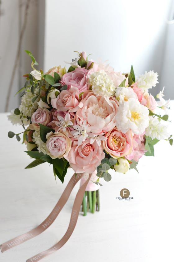 粉色洋牡丹絲花球