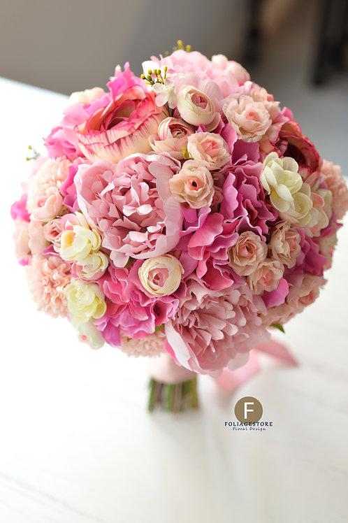 牡丹玫瑰絲花球 -  桃粉系列