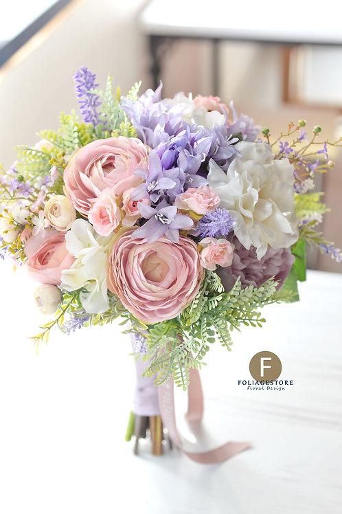 洋牡丹絲花球 - 豆沙粉 X 紫系列