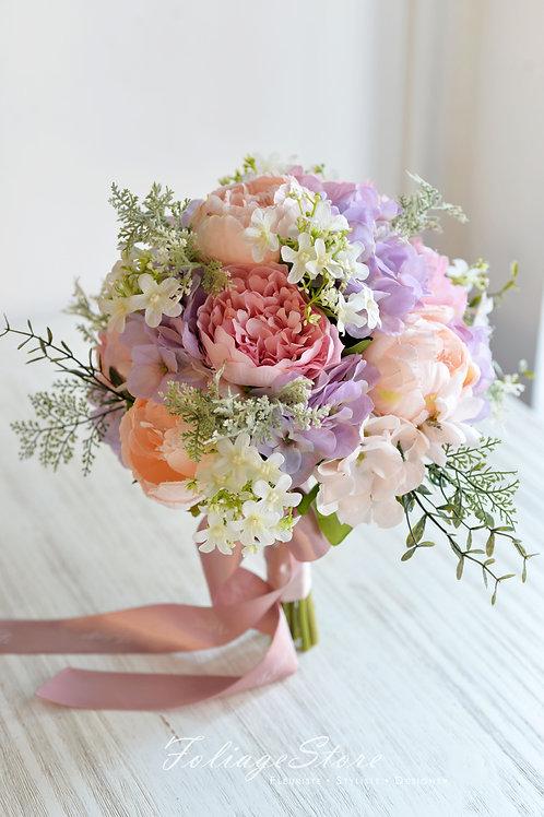 牡丹繡球絲花球 - 紫 X 香檳系列