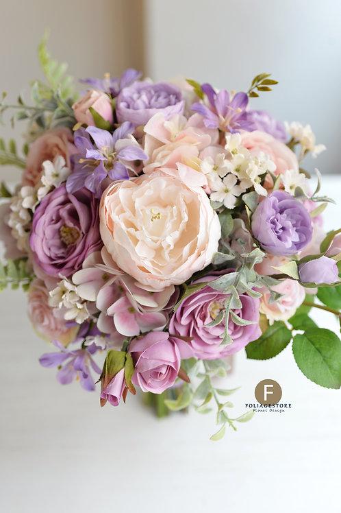 庭園玫瑰繡球絲花球 - 紫色 X 淺粉系列