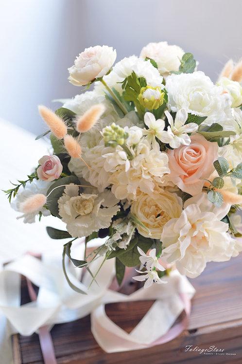 庭園玫瑰牡丹絲花球 - 米白 X Peach系列