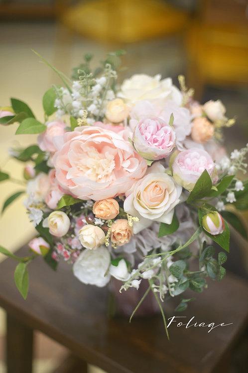 """牡丹庭園玫瑰絲花球 - Creamy Pink 9"""""""