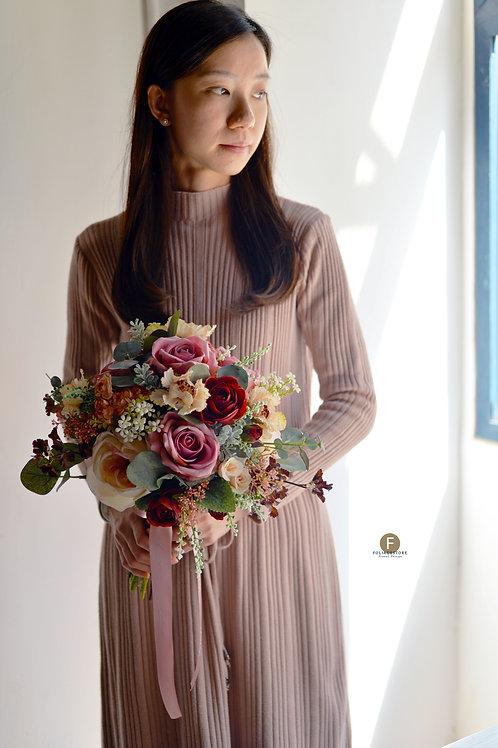大玫瑰牡丹絲花球 - 酒紅 X Creamy系列