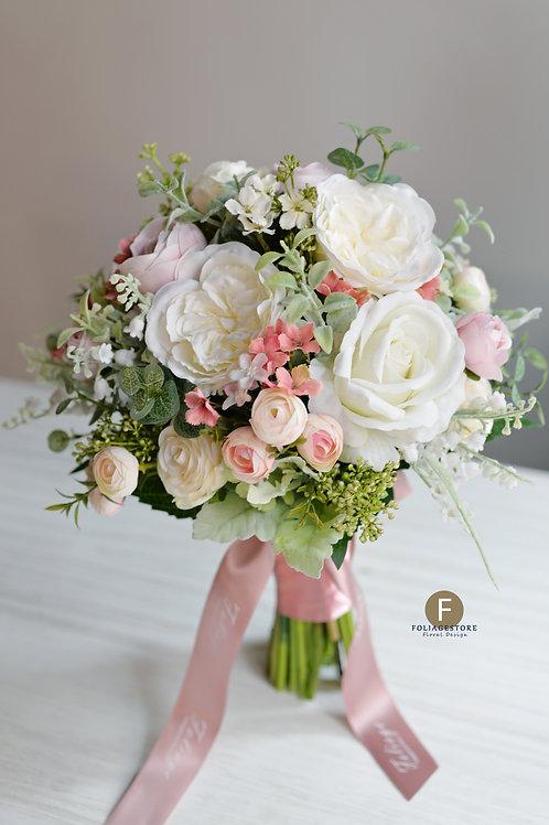 庭園玫瑰絲花球 - 白 X 綠田園系列