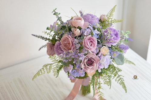 庭園玫瑰牡丹絲花球 - 紫 X 粉系列