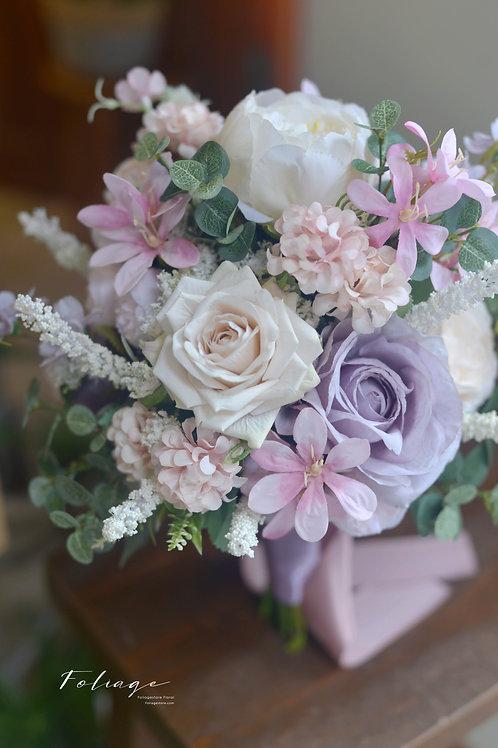"""玫瑰 牡丹絲花球 -   珍珠白淺紫 8"""""""