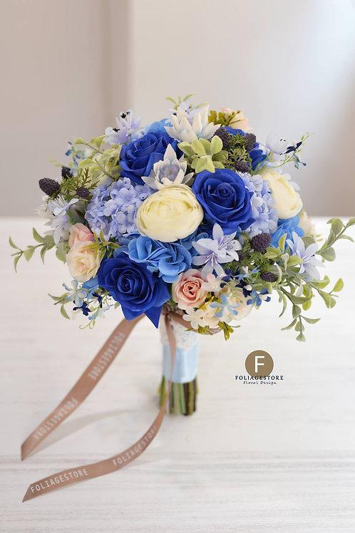 玫瑰絲花球 - 藍 X 白系列