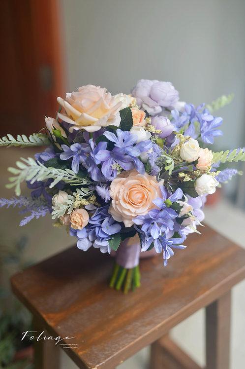 """繡球玫瑰小牡丹絲花球 -  幻紫藍 9"""""""