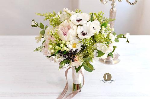 夢羅麗莎牡丹絲花球 - 純白 X 森林系列