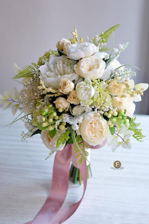 庭園玫瑰牡丹絲花球 - 米白 X 綠系列
