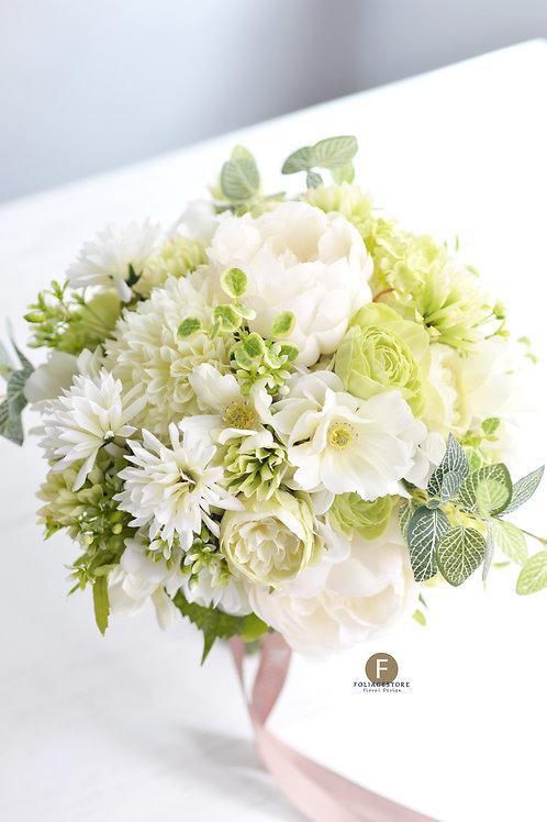 牡丹玫瑰絲花球 - 翠綠 X 白系列
