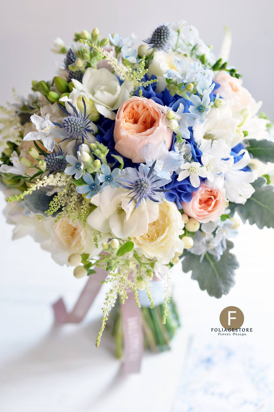 [Fresh Wedding Bouquet] Wedding Inspiration in Pretty a Peach & Powder Blue Palette Bouquet