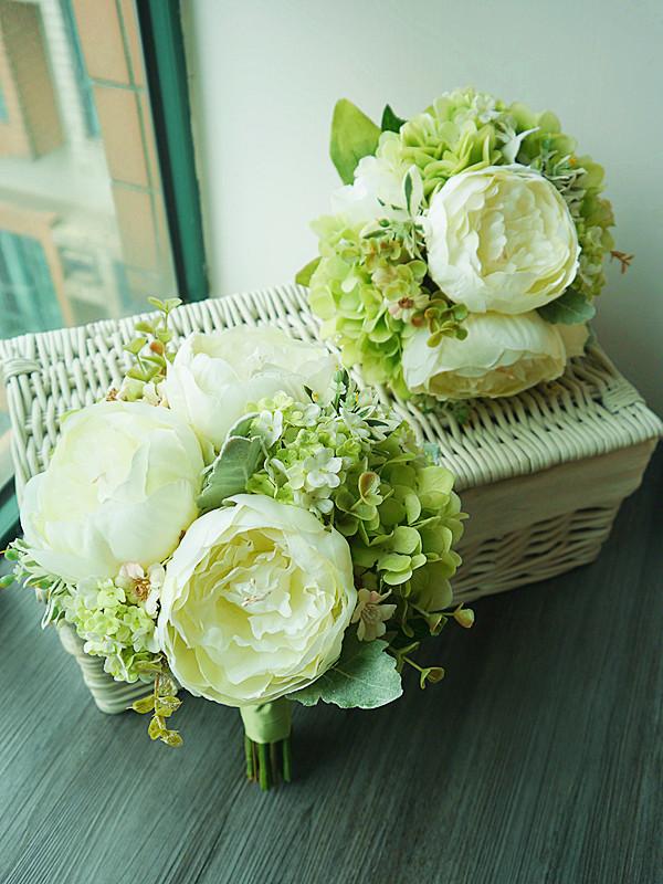 白綠色系列_絲花球40