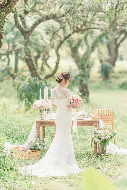 牡丹庭園玫瑰絲花球 - 橙粉 系列