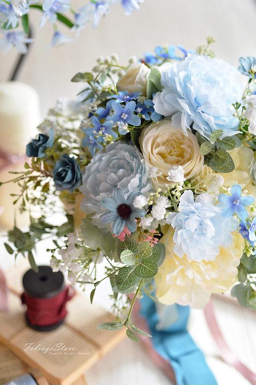牡丹玫瑰絲花球 - 白 X湖水藍系列