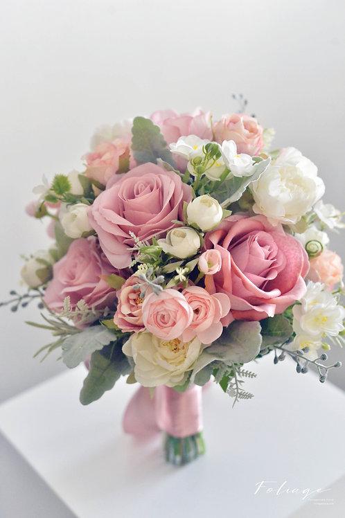 "玫瑰 小牡丹 絲花球 -  Dusty Rose 9"""