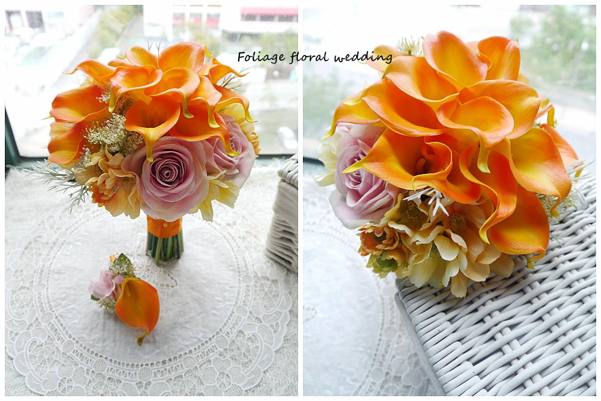 橙黃及香檳色系列_絲花球54