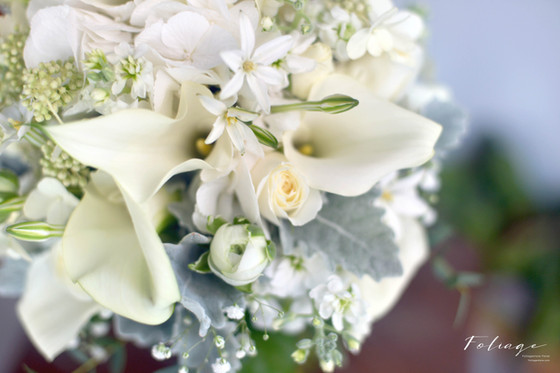 Classical Bride Wedding Bouquet White-Greenery tone