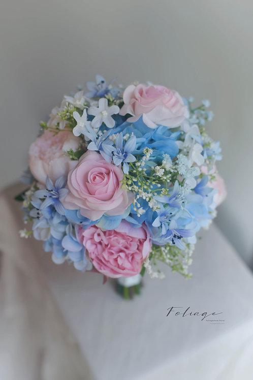 """玫瑰繡球絲花球 -  粉藍系列 (8"""")"""