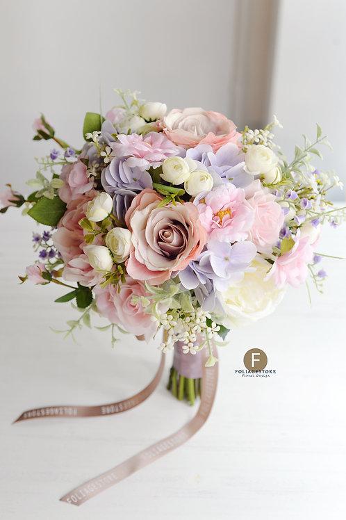 玫瑰繡球絲花球 - 淡紫 X 粉紅系列