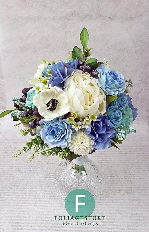 牡丹絲花球 - 湖水藍 X 純白系列