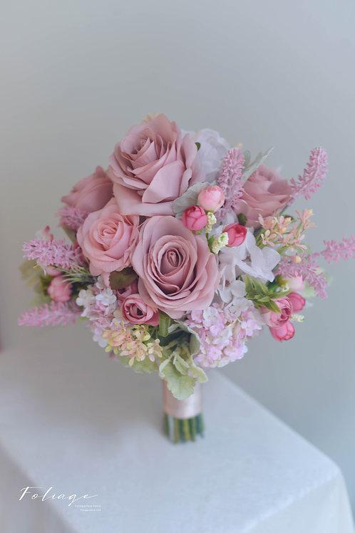 玫瑰繡球絲花球 - Dusty Pink
