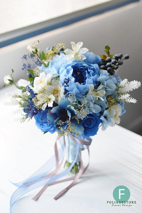 牡丹繡球絲花球 - 湖水藍 系列